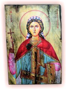 αγία καλλιόπη - παλαίωση εικόνας αγίου σε ξύλο - aged religious icons on wood - handicraftcyprus.com - όλα τα είδη χειροτεχνημάτων του εργαστηρίου μας. χειροποίητα δώρα, τάβλια με σκάλισμα και πυρογραφία, σκάκια σκαλιστά, ξύλινα ρολόγια με σκάλισμα, παιδικά κρεμμασταράκια με παιδικούς ήρωες, ξύλινες φιγούρες και σχήματα, σχέδιο με πυρογράφο σε νεροκολοκύθες, μπομπονιέρες βάφτισης, μπομπονιέρες γάμου γάμων, επιχειρηματικά δώρα, ξεχωριστά δώρα επιχειρήσεων, παλαίωση φωτογραφίας, μπαούλα σκαλιστά, κρεμμασταράκια τοίχου για κλειδιά, κρεμμαστάρια ρούχων σκαλιστά, σκαλιστές κορνίζες, χειροποίητοι καθρέφτες με σκάλισμα, εικόνες αγίων με σκάλισμα, παλαιωμένες εικόνες αγίων, διακοσμητικά είδη χειροποίητα, αξεσουάρ γραφείου, σχέδια σε ξύλο, ξυλογλυπτική, παλαίωση εικόνων, αγιογραφίες, πυρογραφία, χαλκογραφία, κορνίζες, καθρέφτες, χειροποίητα, βάφτιση, γάμος, επέτειος, Πάφος, Λευκωσία, Λεμεσός, Λάρνακα.